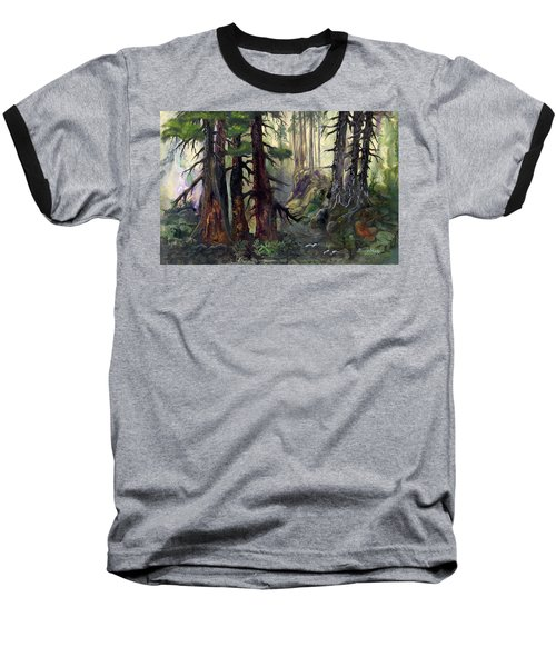 Baseball T-Shirt featuring the painting A Walk In The Woods by Sherry Shipley