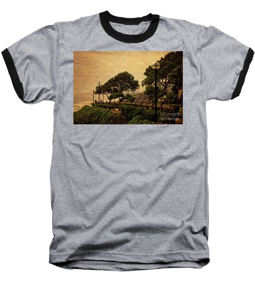 Baseball T-Shirt featuring the photograph A Walk On The Edge - Peru by Mary Machare