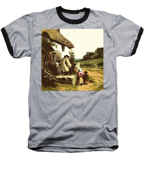 Baseball T-Shirt featuring the drawing A Walk With The Grand Kids by Digital Art Cafe