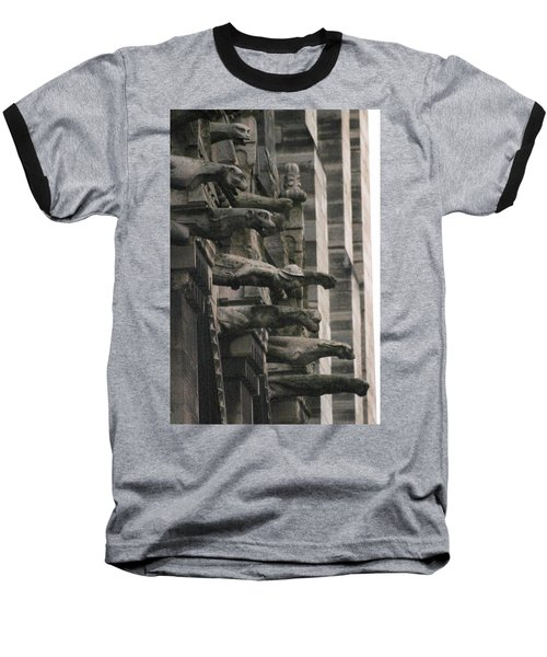 A Wall Of Gargoyles Notre Dame Cathedral Baseball T-Shirt by Christopher Kirby