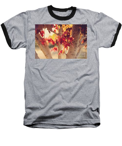 Baseball T-Shirt featuring the photograph A Warm Red Autumn by Linda Lees
