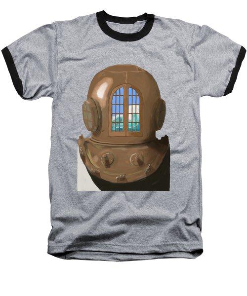 A Wave Inside The Helmet Baseball T-Shirt by Keshava Shukla
