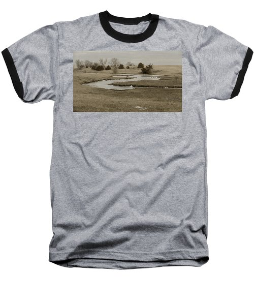A Winding Creek In Winter As Geese Fly Overhead Baseball T-Shirt