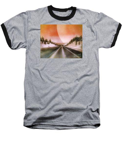 A December Drive 3 - Digital Artwork Baseball T-Shirt by Janie Johnson