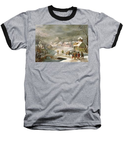 A Winter Landscape With Travellers On A Path Baseball T-Shirt by Denys van Alsloot