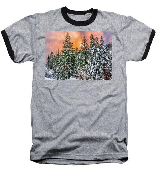 A Winters Sky Set Ablaze Baseball T-Shirt