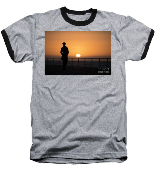 A Woman Silhouetted At Sunset Baseball T-Shirt
