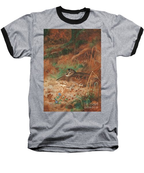 A Woodcock And Chick In Undergrowth Baseball T-Shirt by Archibald Thorburn
