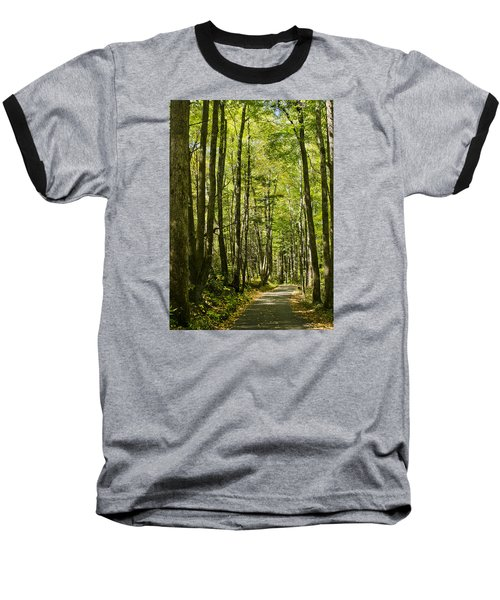 Baseball T-Shirt featuring the photograph A Woodsy Trail by Wanda Krack
