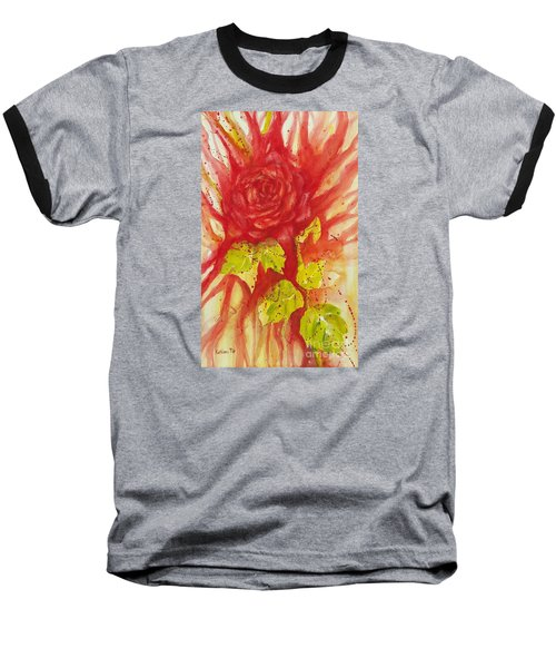 Baseball T-Shirt featuring the painting A Wounded Rose by Kathleen Pio