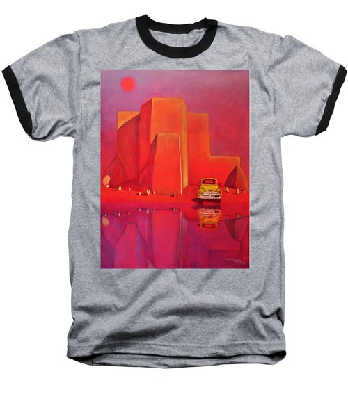 Baseball T-Shirt featuring the painting A Yellow Truck With A Red Moon In Ranchos by Art West