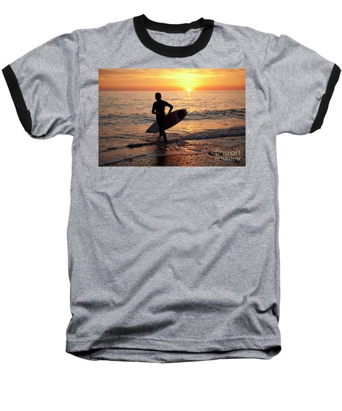 A Young Man Surfing At Sunset Off Aberystwyth Beach, Wales Uk Baseball T-Shirt