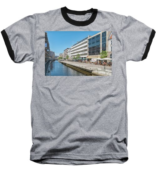 Baseball T-Shirt featuring the photograph Aarhus Canal Activity by Antony McAulay
