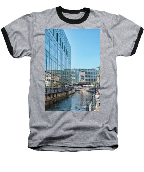 Baseball T-Shirt featuring the photograph Aarhus Lunchtime Canal Scene by Antony McAulay