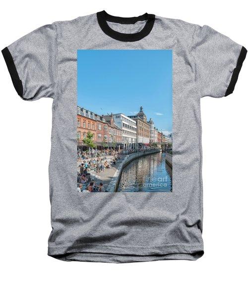 Baseball T-Shirt featuring the photograph Aarhus Summertime Canal Scene by Antony McAulay