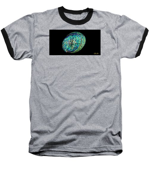 Abalone On Black Baseball T-Shirt by Rikk Flohr