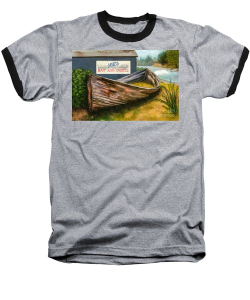Painting Of Abandoned And Rotted Out Boat   Baseball T-Shirt