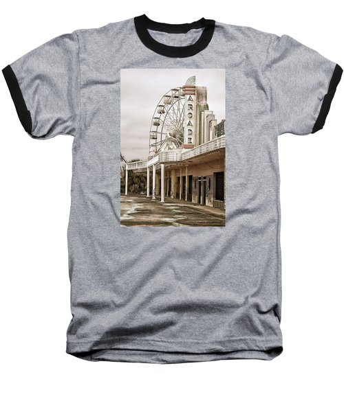 Baseball T-Shirt featuring the photograph Abandoned Arcade And Ferris Wheel by Andy Crawford