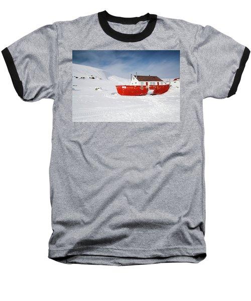 Abandoned Fishing Boat Baseball T-Shirt by Nick Mares