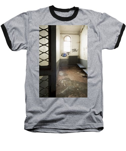 Abandoned Prison Cell With Grafitti Of Eye On Wall Baseball T-Shirt