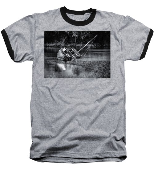 Abandoned Ship In Monochrome Baseball T-Shirt