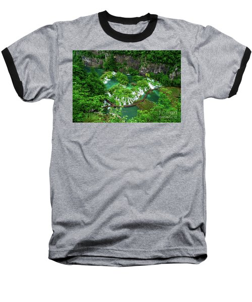Above The Paths And Waterfalls At Plitvice Lakes National Park, Croatia Baseball T-Shirt