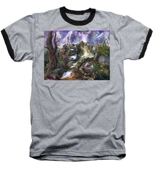 Baseball T-Shirt featuring the painting Above The Timberline by Sherry Shipley