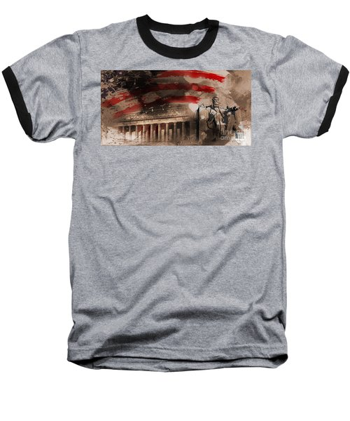 Baseball T-Shirt featuring the painting Abraham Lincoln by Gull G