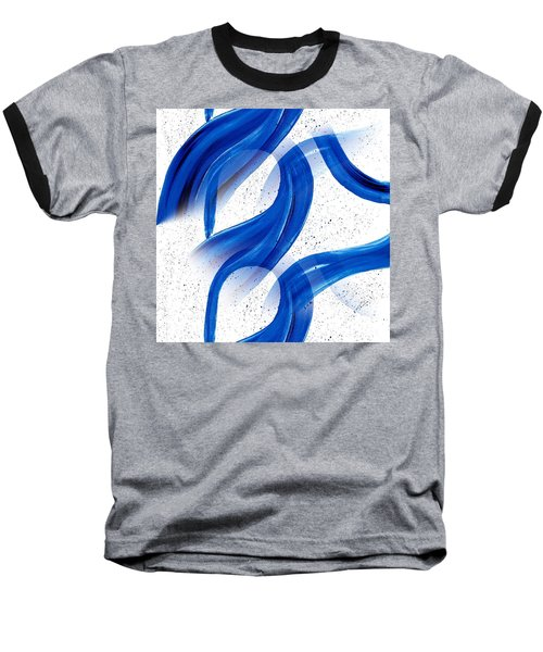 Abstract Acrylic Painting Blues Series 2 Baseball T-Shirt by Saribelle Rodriguez