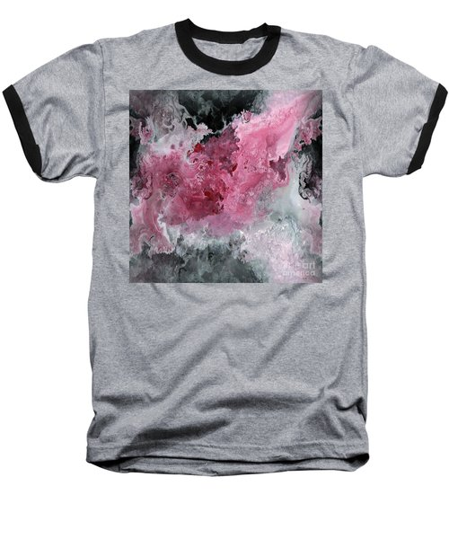 Abstract Acrylic Painting Red Black And White Baseball T-Shirt by Saribelle Rodriguez