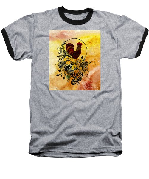Abstract Acrylic Painting Rooster Baseball T-Shirt