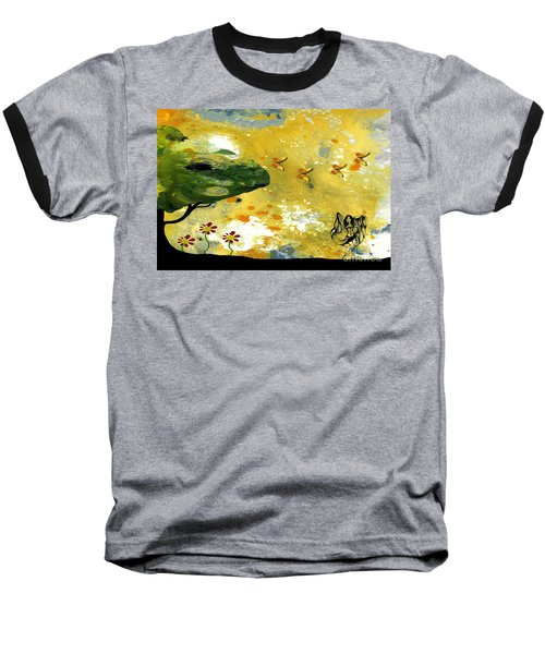 Abstract Acrylic Painting Spring Dance Baseball T-Shirt by Saribelle Rodriguez
