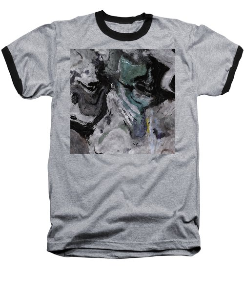 Abstract And Minimalist Acryling Painting In Gray Color Baseball T-Shirt by Ayse Deniz