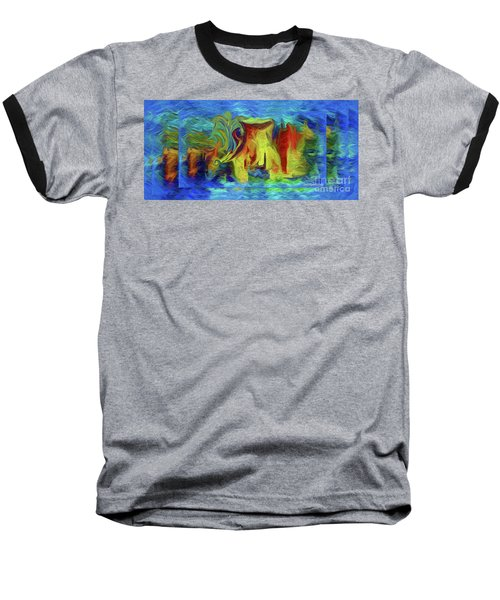 Abstract Artgo With The Flow Baseball T-Shirt by Sherri's Of Palm Springs