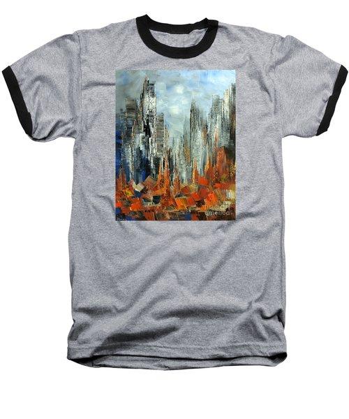 Baseball T-Shirt featuring the painting Abstract Autumn by Tatiana Iliina