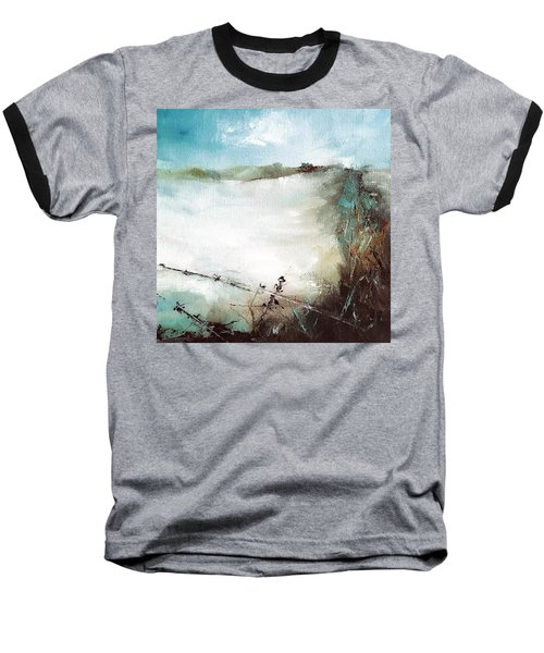 Abstract Barbwire Pasture Landscape Baseball T-Shirt by Michele Carter