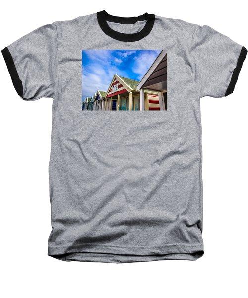 Abstract Beach Huts Baseball T-Shirt by David Warrington
