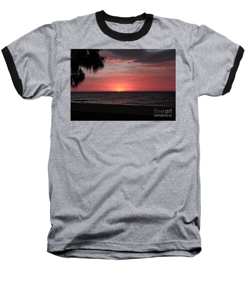 Abstract Beach Palm Tree Sunset Baseball T-Shirt