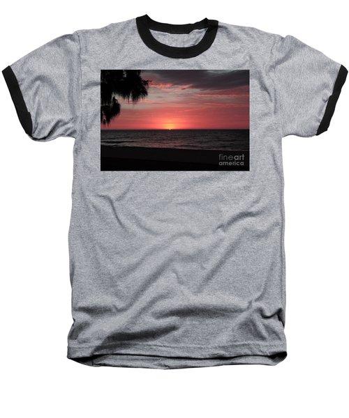 Abstract Beach Palm Tree Sunset Baseball T-Shirt