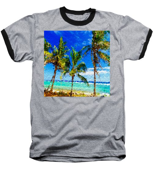 Abstract Beach Palmettos Baseball T-Shirt by Anthony Fishburne