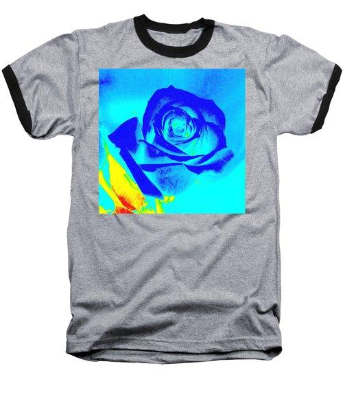 Abstract Blue Rose Baseball T-Shirt by Karen J Shine