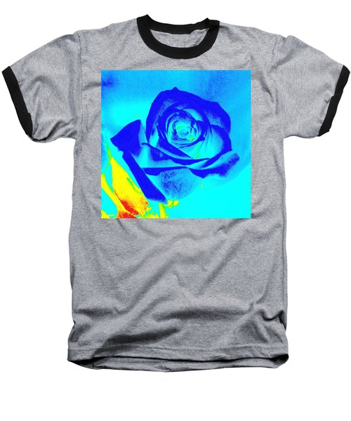 Single Blue Rose Abstract Baseball T-Shirt