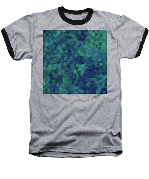 Baseball T-Shirt featuring the mixed media Abstract Blues 1 by Clare Bambers