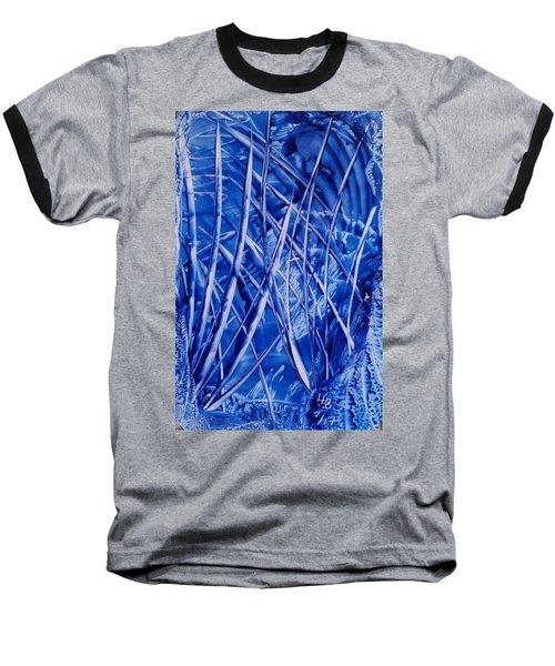 Abstract Blues Encaustic Baseball T-Shirt