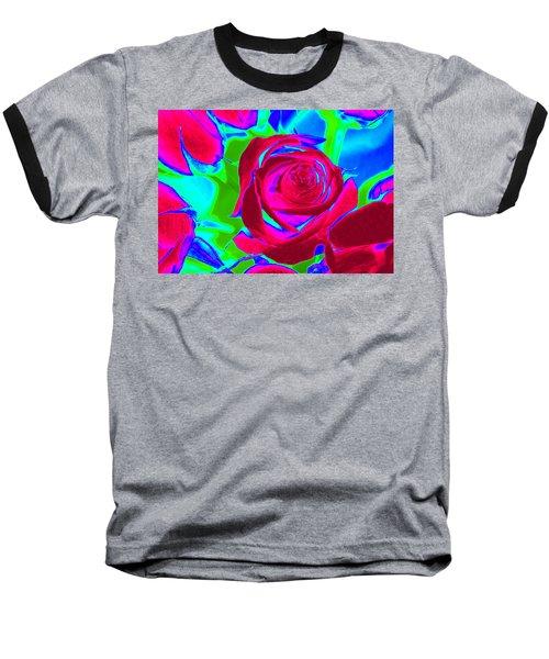 Abstract Burgundy Roses Baseball T-Shirt by Karen J Shine