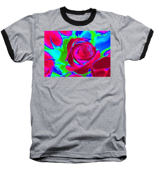 Burgundy Rose Abstract Baseball T-Shirt