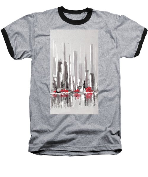 Abstract Cityscape Painting - 1 Baseball T-Shirt
