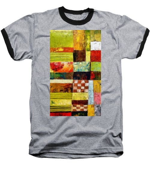 Abstract Color Study With Checkerboard And Stripes Baseball T-Shirt