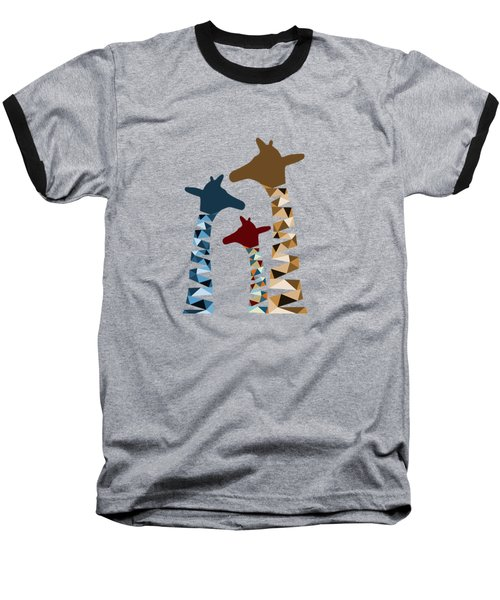 Abstract Colored Giraffe Family Baseball T-Shirt by Brigitte Carre