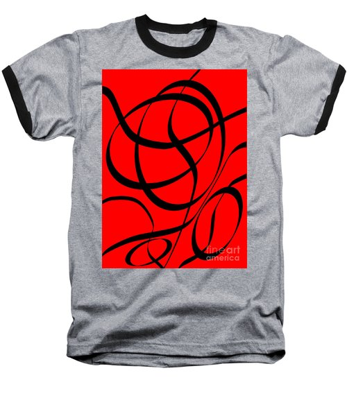 Abstract Design In Red And Black Baseball T-Shirt